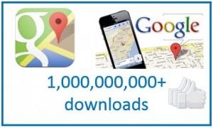 Google Maps crosses one billion downloads !!