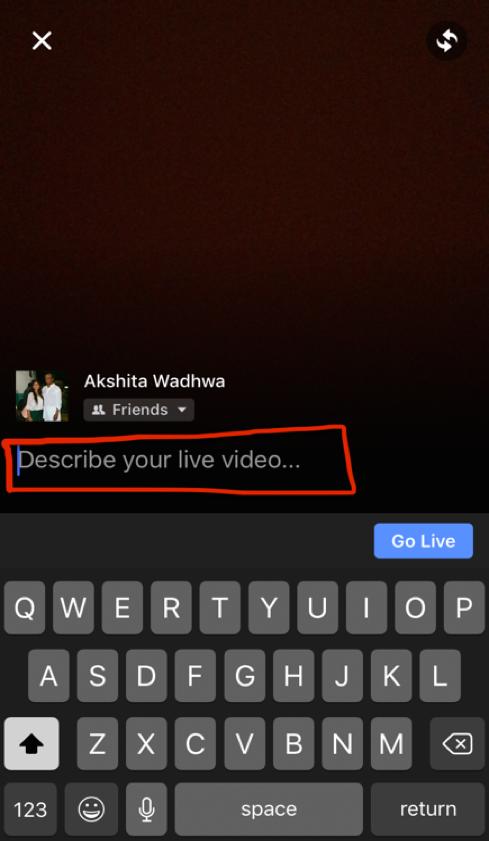Facebook Live - Describe your live video