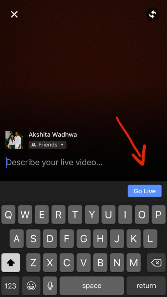 Facebook Live - Go live