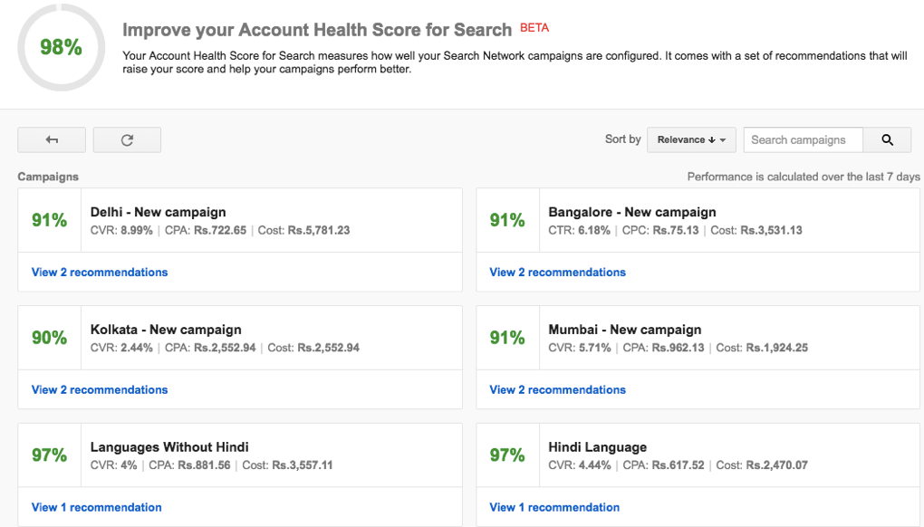 Improvising Account Health Score