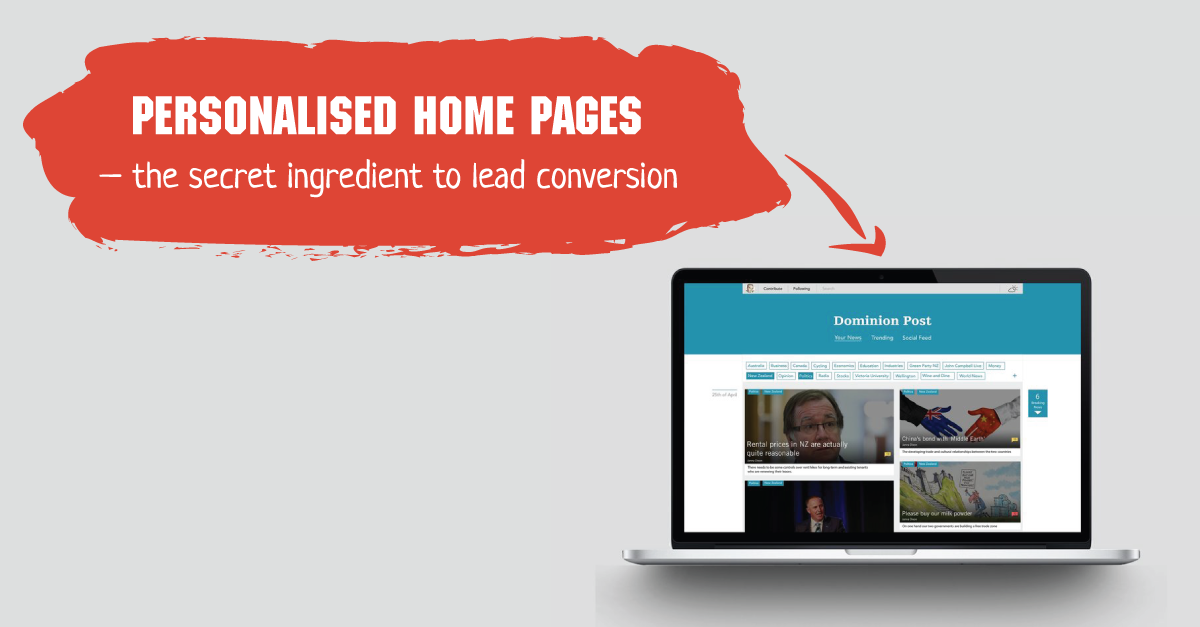 Personalised home pages – the secret ingredient to lead conversion