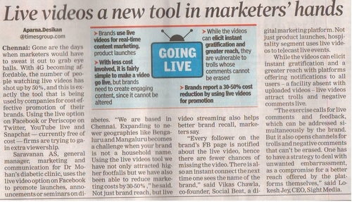 Vikas Chawla speaks about Live videos in TOI