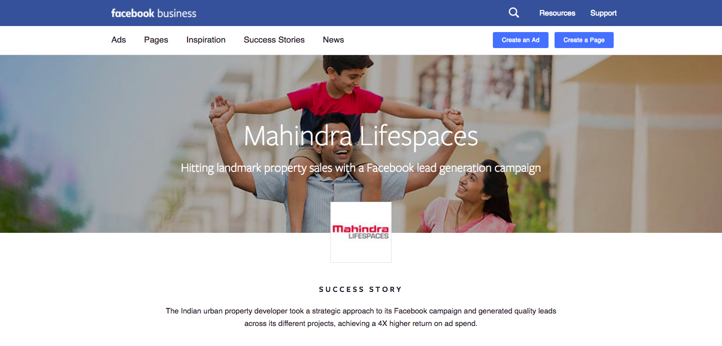 Case Study: Mahindra Lifespaces achieves a 4x higher return via Facebook