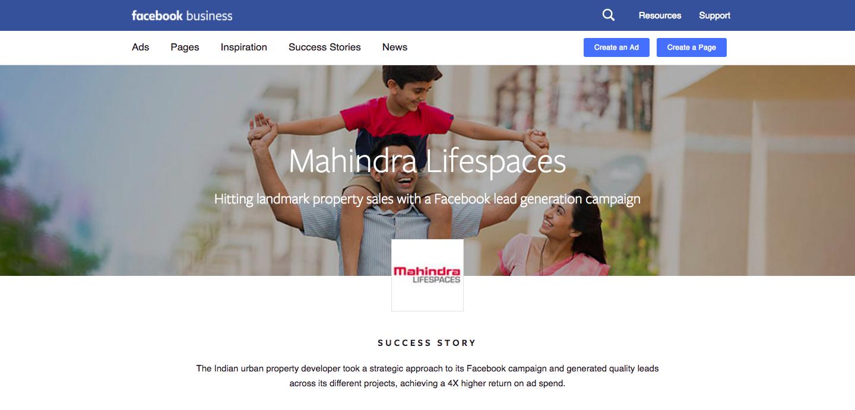 Case Study: Mahindra Lifespaces achieves a 4x higher return via Facebook