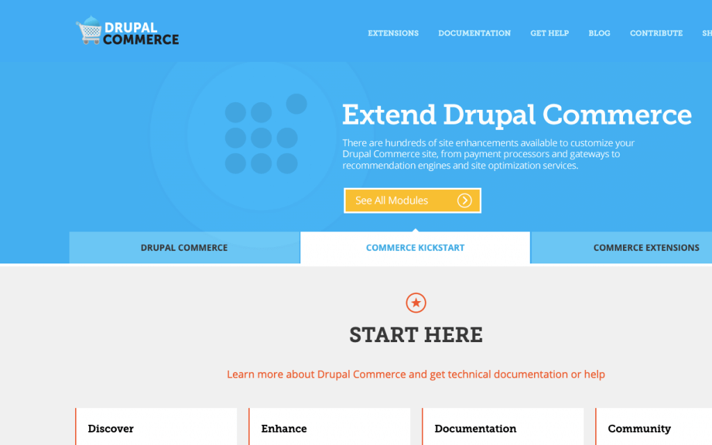 Drupal commerce landing page