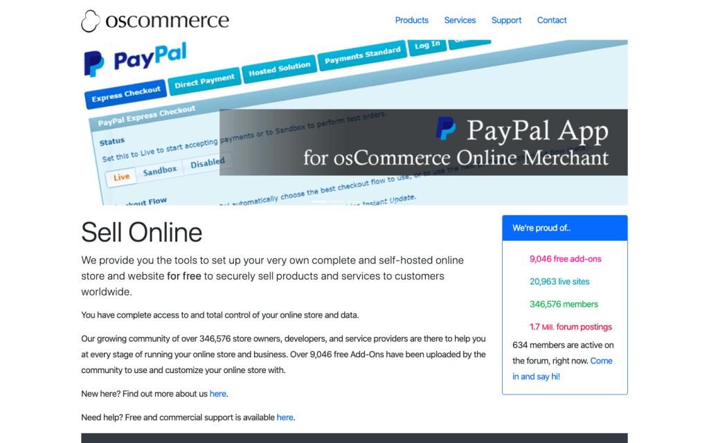 oscommerce landing page