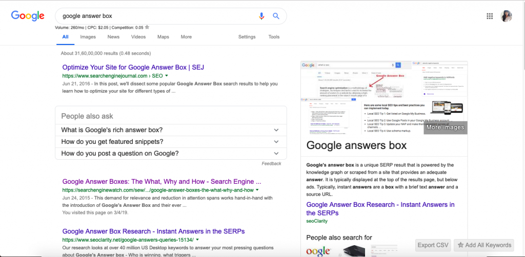 People also ask - featured snippet