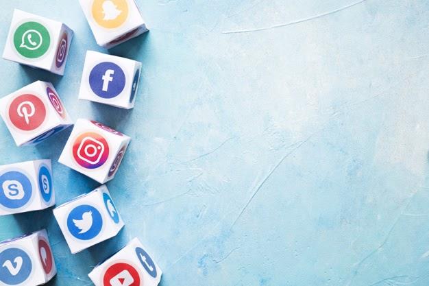 set various social media blocks blue painted wall 23 2147841215